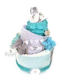 Topsy Turvy, Diaper Cake, baby shower, aqua & gray baby shower, centerpiece, baby gift, baby girl by PrincessAndThePbaby on Etsy https://www.etsy.com/listing/261864416/topsy-turvy-diaper-cake-baby-shower-aqua