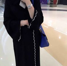Simple and classy abaya Nida material Rate 2700 Modern Abaya, Modern Hijab Fashion, Arab Fashion, Fashion Idol, Muslim Fashion, Modest Fashion, Fashion Outfits, Abaya Dubai, Girl Hijab