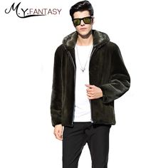 M.Y.FANSTY 2017 Winter Youth Real Fur Swan Velvet Man <font><b>Coat</b></font> Army <font><b>Coat</b></font> Mink <font><b>Coat</b></font> Stand Collar Business Casual With Hat Mink <font><b>Coats</b></font>