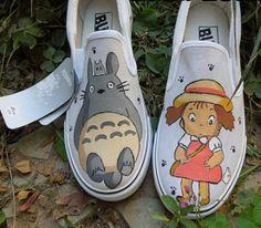 totoro custom totoro shoes by paintedscanvas on Etsy, $43.99