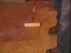 Stained concrete - garage or basement floor fun? How to Stain Concrete – Acid Stain Concrete DIY Acid Stained Concrete Floors, Painted Concrete Floors, Painting Concrete, Stain Concrete, Diy Concrete, Floor Painting, Plywood Floors, Polished Concrete, Concrete Countertops