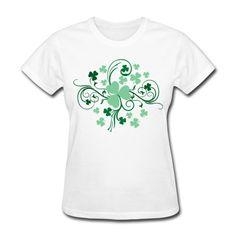Shamrock Blossom Women's T-Shirt White Women's T-Shirt | SnapMade.com ($22) ❤ liked on Polyvore featuring tops, t-shirts, white top, ribbed tee, t shirt, white sleeve shirt and white t shirt