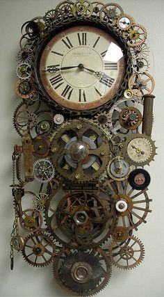 steampunk clock with gears.