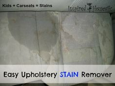Easy Car Upholstery Stain Remover - An easy DIY home cleaning solution that takes nasty stains out of the upholstery of your car.
