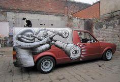 Creative Art, Street, Exterior, Black, and White image ideas & inspiration on Designspiration Sheffield Art, Snow Art, Unusual Art, Street Art Graffiti, White Image, Street Artists, Public Art, Art Cars, Urban Art