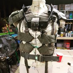 Starting to lay out my wasteland costume. #wip #wastelandweekend #postapocalypse #strapsfordays #costume #cosplay #desertlife #madmax #waistedsaint #militarystraps #metal #shiny #concept #harness #armor #torso #apocalyptic #chest #vest