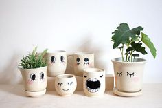 Your place to buy and sell all things handmade Lookin' at You Series Ceramic Mugs Planters and Painted Plant Pots, Painted Flower Pots, Pottery Painting Designs, Fleur Design, Decorated Flower Pots, Flower Pot Crafts, Diy Planters, Plant Holders, Ceramic Mugs
