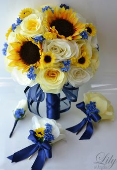 17 piece package silk flower wedding decoration bridal bouquet sunflower yellow ivory dark blue lily of angeles blye02
