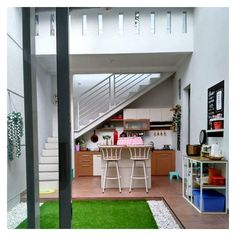Home Office Design Interior Stairs 41 Ideas Interior Stairs, Office Interior Design, Home Interior, Interior Ideas, Apartment Patio Gardens, Small Tiny House, Minimalist Architecture, House Stairs, Patio Stairs