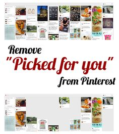 "How to Remove 'Picked for You' related pins from Pinterest:  Click on your name.  Next to the Edit Profile button in the upper right is an icon of a gear. Click on it and select ""Account settings"".  On the left, select ""Notifications"".  You'll then have two choices. Choose ""Only People I Follow""."