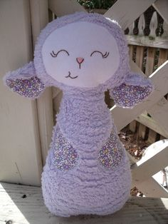 A little purple lamb--a handmade cloth doll.