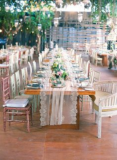 Lace Runners on Long Wooden Tables | Brides.com