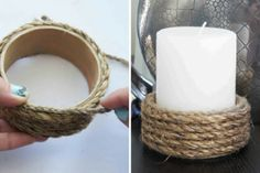 Creative DIY Candle Holder Ideas. maybe add some beads or paint the rope.