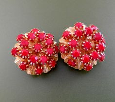 Ancient and Fantastic 1950s italian Earrings  - great design with glass bright red stones - original vintage Italian -Art.534/3-- by RAKcreations on Etsy https://www.etsy.com/listing/207969865/ancient-and-fantastic-1950s-italian
