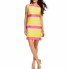 """Corded Dobby Striped Shift Dress LOFT Corded Dobby Striped Shift Dress.                             {{ PRODUCT INFORMATION }} """"Fantastically fresh, this brightly hued shift style radiates springtime flair – in irresistible corded dobby. Sleeveless. Back zip. Lined. 18 1/2"""" from natural waist.""""                                                                                           {{ FABRIC, FIT, & CARE }}                                                     STYLE #299072 93% COTTON, 7%…"""