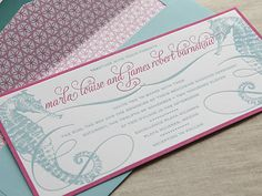 The prettiest seahorse wedding invitation by Abbey Malcolm Letterpress + Design.