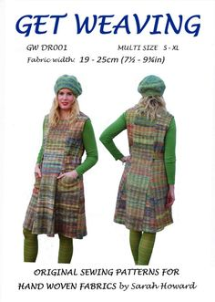 GW DR001 S-XL 6 panel pinafore dress with godets original sewing pattern for narrow, handwoven fabric by Sarah Howard