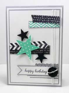 Hey Everyone Jennifer Brum is our hostess at Freshly Made Sketches. Stampin Up Karten, Karten Diy, Stampin Up Cards, Handmade Birthday Cards, Happy Birthday Cards, Greeting Cards Handmade, Boy Cards, Kids Cards, Washi Tape Cards