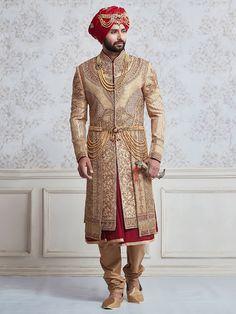 Wedding Wear Beige And Maroon Sherwani, mens fashion, fashion for men, indowestern, groom, sherwani, weddingwear, partywear, designer, mensgroom, indian ethnic, ethnicwear, mensethnic