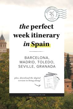 The ultimate 1-week itinerary in Spain, including morning, afternoon, and evening schedules. Places of interest include: Barcelona, Madrid, Toledo, Seville, and Granada. Discover famous Gaudi architectures, the rich Moorish history, and more! PLUS, get this itinerary in digital PDF format to take along with your trip!