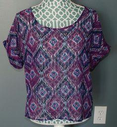 dELiAs purple short sleeve sheer tribal chiffon NWT shirt womens size L #dELiAs #Blouse #Casual