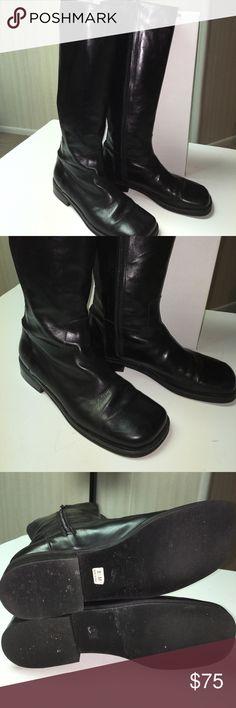 "Donald Pliner leather knee high boots Roland Pliner black leather with elastic  knee high boots with zipper. Heel height 1"". Boot height 16"". Very gently worn Donald J. Pliner Shoes"