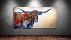 "SOLD! Original Acrylic 40x80 Painting ""Blue Eyes"" from @parkcityfineart in Park City Utah! HUGE Congrats & Thank You to the Art Collectors of my very first (but definitely not my last) #longhorn piece!  ––*Fine Art Prints now available at www.TeshiaArt.com"