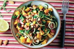 Butternut Squash, Spinach, Bacon and Zucchini Salad with Almonds - this is supposed to be a great energy-booster.