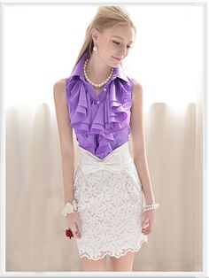 Morpheus Boutique  - Purple Ruffle Vintage Style Sleeveless Button Down Shirt, CA$71.78 (http://www.morpheusboutique.com/purple-ruffle-vintage-style-sleeveless-button-down-shirt/)