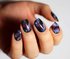 Image viaCheck out this gallery of galaxy nail art if you need inspiration for your next manicure!Image viaSimple, Realistic Galaxy Nails Tutorial, featuring JINsoon Obsidian - This is Simple Nail Art Designs, Gel Nail Designs, Cute Nail Designs, Fingernail Designs, Awesome Designs, Nails Design, Diy Nails, Cute Nails, Manicure Ideas