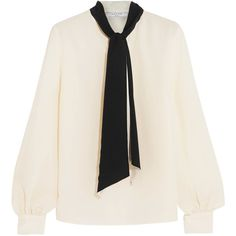 Lanvin Silk crepe de chine blouse (5 395 PLN) ❤ liked on Polyvore featuring tops, blouses, lanvin, neck tie blouse, neck-tie, silk blouse and silk neck ties