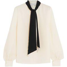 Lanvin Silk crepe de chine blouse (5 395 PLN) ❤ liked on Polyvore featuring tops, blouses, lanvin, neck tie blouse, neck-tie, silk blouse and silk neck ties