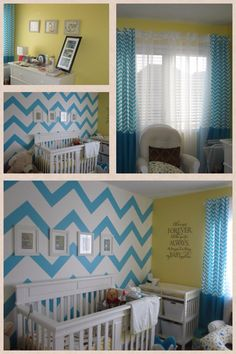Zoe S Bedroom Chevron Teal Yellow Home Decor Colors