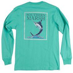 Southern Marsh Blue Marlin Fishing Long Sleeve Tee Shirt