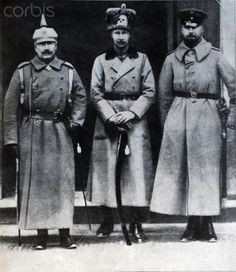 "The picture taken from the cover of Berliner Illustrirten Zeitung (Berlin illustrated newspaper) from 1915 shows German Kaiser Wilhelm II (L-R) with his sons Crown Prince Wilhelm of Prussia and Prince Oskar of Prussia, date unknown. The crown prince wears a fur hat from the so-called ""Skull Hussars"" (1. Leib-Husaren-Regiment Nr. 1). The original caption reads ""The Kaiser visits the headquarters of the crown prince."" Photo: Berliner Verlag / Archive - NO WIRE SERVICE"