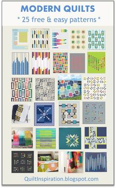 Here are 25 free and easy patterns for modern quilts at Quilt Inspiration: August 2017