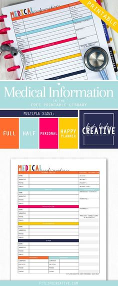Free printable Medical Information planner insert. Available in multiple sizes including Full page, half page, personal size and Happy Planner sizes.