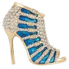 Oferta: 22.99€ Dto: -70%. Comprar Ofertas de Ever Faith - Oro-Tono Cristal Austriaco Esmalte Sexy Zapato de Tacón Azul Broche A10543-14 barato. ¡Mira las ofertas!