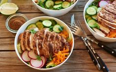 Flavor-packed chicken is served over a bed of crunchy greens makes for a great summer salad. The main star in this recipe is five-spice powder, a mix