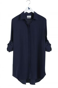 The OVERSIZE Shirt - Women's shirt - EXTRA LONG SHIRT - Navy Silk - MiH
