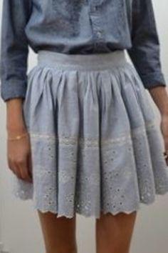 Vanessa Bruno Athé Blue Denim and Eyelet Skirt