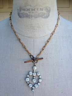 Valentine's Heart on  Vintage Watchchain Necklace at http://www.etsy.com/listing/120619144/antique-vintage-watch-chain-necklace?ref=pr_shop - Vintage Gift for your sweetheart.