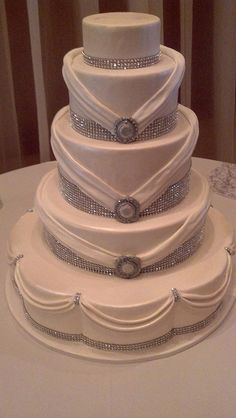 Rhinestone wedding cake(1187) | Flickr - Photo Sharing! -For more gerat wedding inspiration, tools and tips visit us at  http://www.brides-book.com