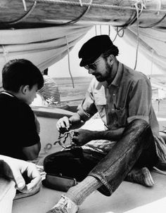 Seeger aboard his brainchild, the sloop Clearwater, cruising down from Massachusetts to New York, on Madrid voyage.  Pete Seeger died today, Jan. 28, 2014.   Rest In Peace. You will be missed.