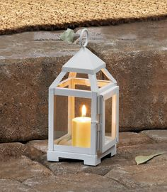 7561082aa2f White Mini Contemporary Lantern Pillar Candle Holders
