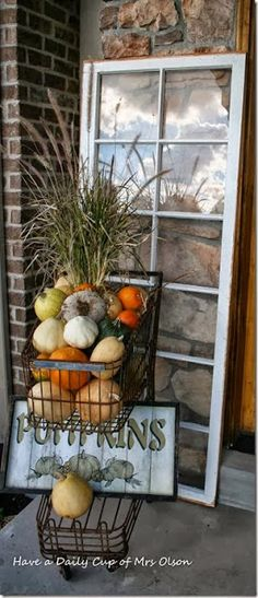 Love the cart - fall porch