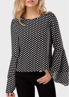 rotita.com - unsigned Round Neck Polka Dot Print Flare Sleeve Black Blouse - AdoreWe.com 50 Fashion, Hijab Fashion, Moda Kimono, Beautiful Outfits, Cool Outfits, Cardigan Outfits, Short Tops, Trendy Tops, Polka Dot Print