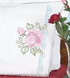 XX Roses Perle Edge Pillowcases #embroidery #embroiderybyhand #JDNA #roses