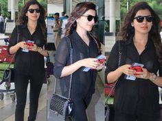 #Samantha Ruth Prabhu looks chic at Mumbai Airport... she goes sheer with #CHANEL bag... Take a look!
