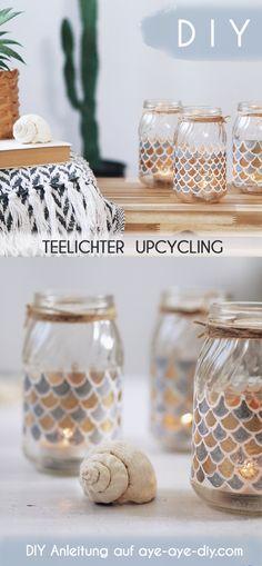Windlichter basteln leicht gemacht: aus leeren Gläsern werden mit Lackmarkern im Handumdrehen DIY Teelichter im Boho Style! Inspiriert von marokkanischen Fliesen mit Fischschuppen Muster zeige ich dir eine Anleitung, wie du dein Windlicht aus Altglas in diesem Stil selber bastelst und bemalst. Bastelanleitung auf aye-aye-diy.com DIY Deko Idee - Boho Wohnen - maritime Deko basteln - Upcycling Idee - Glas Upcycling - Zero Waste - Nachhaltigkeit DIY - nachhaltige Deko - nachhaltige Geschenke Sharpie Markers, Diy Upcycling, Posca, Boho Diy, Craft Storage, Fun Crafts, Place Card Holders, Cool Stuff, Bricolage